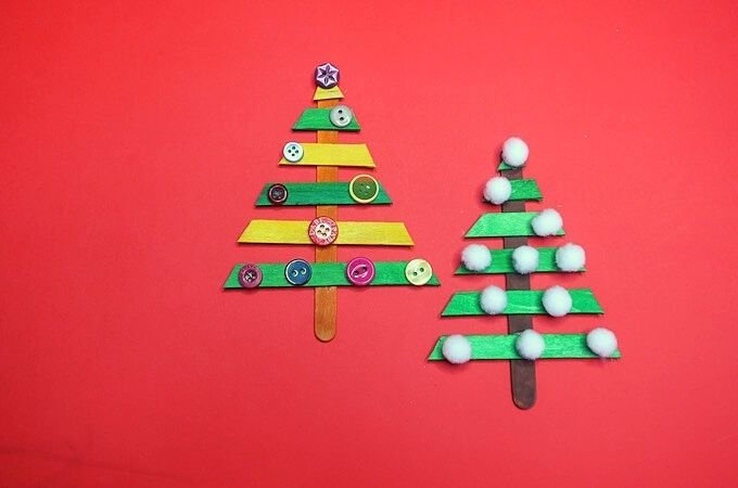 Christmas Tree Craft with Popsicle Sticks