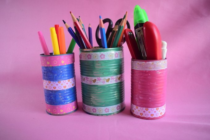How to Make Tin Can Desk Organizers