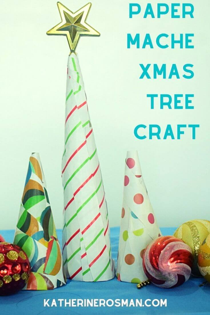 Paper Mache Christmas Tree Craft Activity for Kids