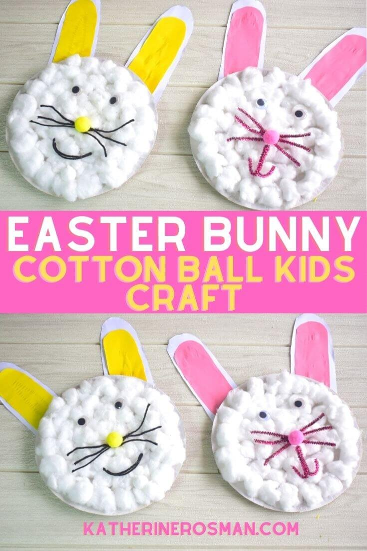 Paper Plate and Cotton Ball Easter Bunny Craft