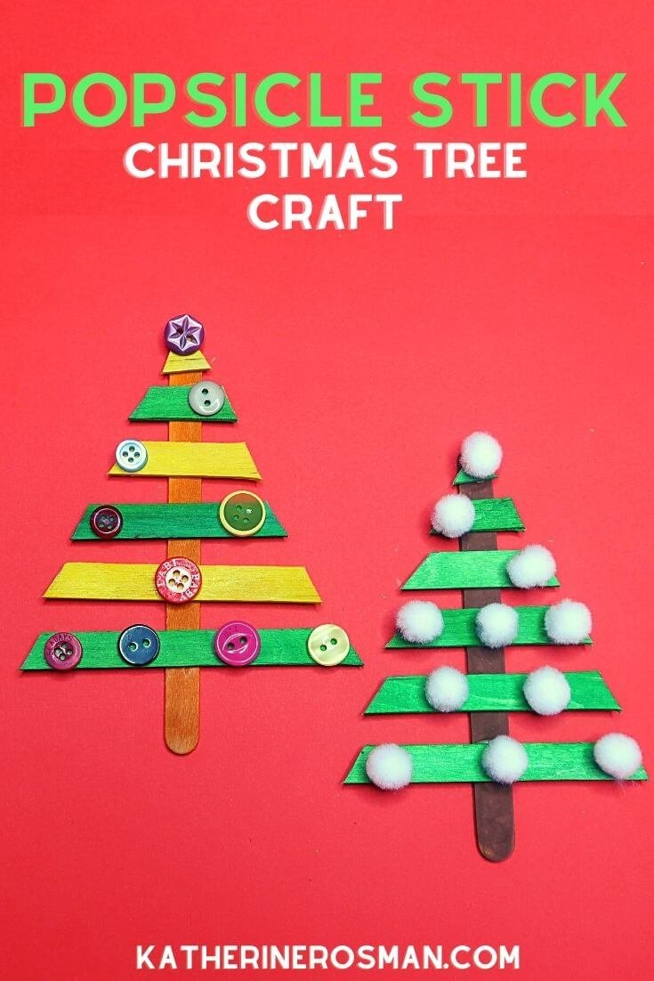 Popsicle Stick Christmas Tree Craft Idea for Kids
