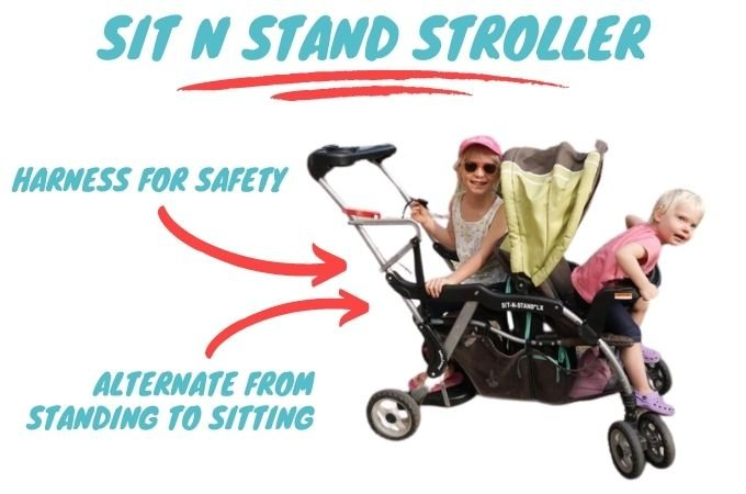 Sit and Stand Stroller Rear Seat Position